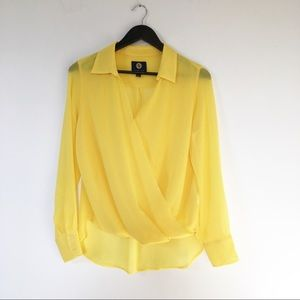 Adrienne Vittadini yellow semi sheer blouse